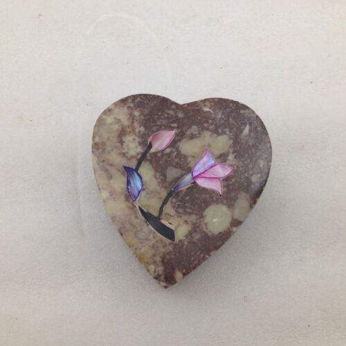 Soapstone & Abalone Trinket Box Heart Shaped with Floral Design