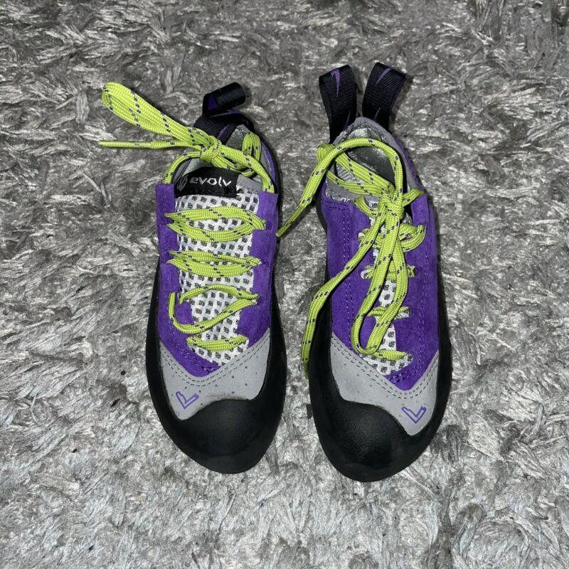 Evolv Kids Elektra Climbing Shoes Size 5 Purple Leather