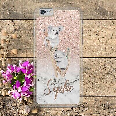PERSONALISED KOALA BEAR ROSE GOLD GLITTER EFFECT Phone Case iPhone Samsung
