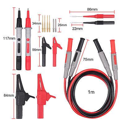 Cat Iii 1000v 10a Multimeter Test Lead Kit W Alligator Clips Needle Probes Tips
