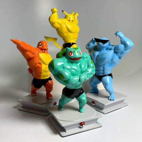 Bodybuilder Pokemon Muscle Figurines Set of 4 W/Bonus Mini Figurine