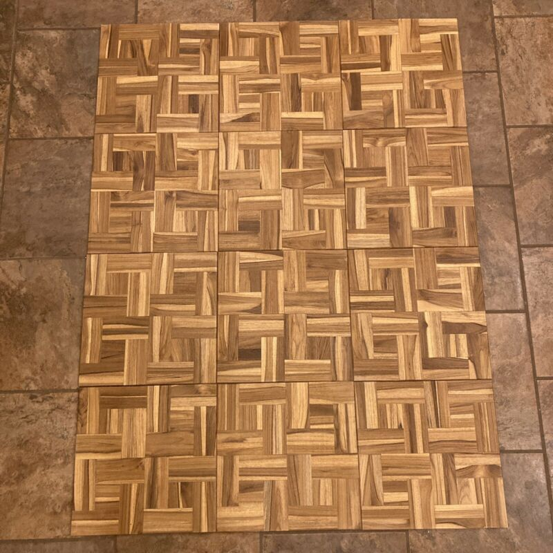 "Vtg 1977 NOS Parquet TEAK Wood Floor Tiles 12x12, 5/16"" Thick, 12 Sq Ft, Mosaic"