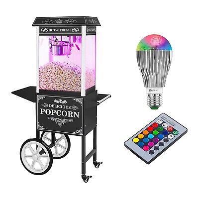 Popcornmaschine mit Wagen LED-Beleuchtung Popcornautomat Retro Design Schwarz