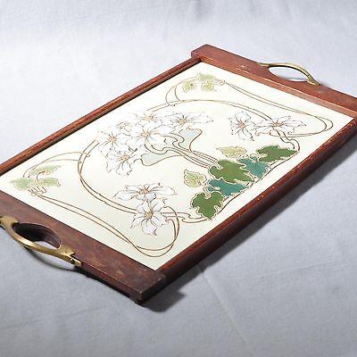 Wächtersbach, großes Jugendstil Tablett mit floralem Motiv / Blumen, 47,5 cm