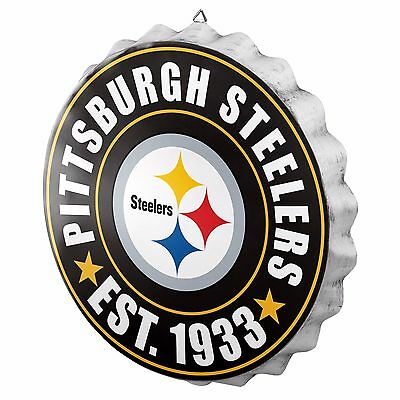 Pittsburgh Steelers Decorations (Pittsburgh Steelers Bottle Cap Sign - Est 1933 - Room Bar Decor NEW 13.5