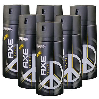 6 x 150ml Axe Peace Deo Deospray Deodorant Bodyspray Herrendeo Deo Spray (Axe Body Spray)