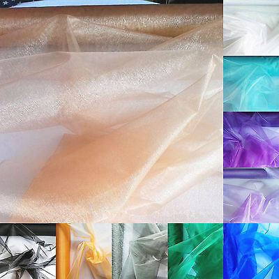 - Twinkle Crystal Mirror Organza Fabric Stiff Sheer Wedding Party Decor Material