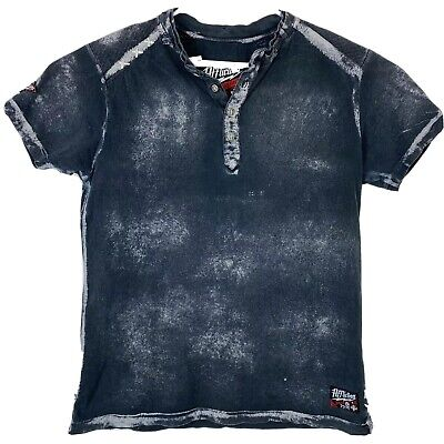 AFFLICTION Men's Mens Size M Distressed Graphic Henley Shirt