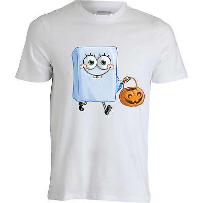 Spongebob Squarepants Ghost Halloween cartoon scary funny men top white T shirt