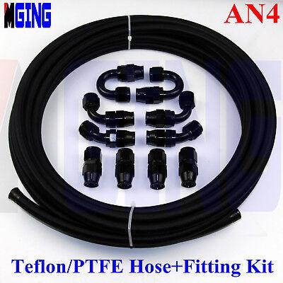AN4 AN-4 4-AN PTFE Teflon oil gas Line E85 Fuel Hose+fitting adaptor 16.4 FT/5M