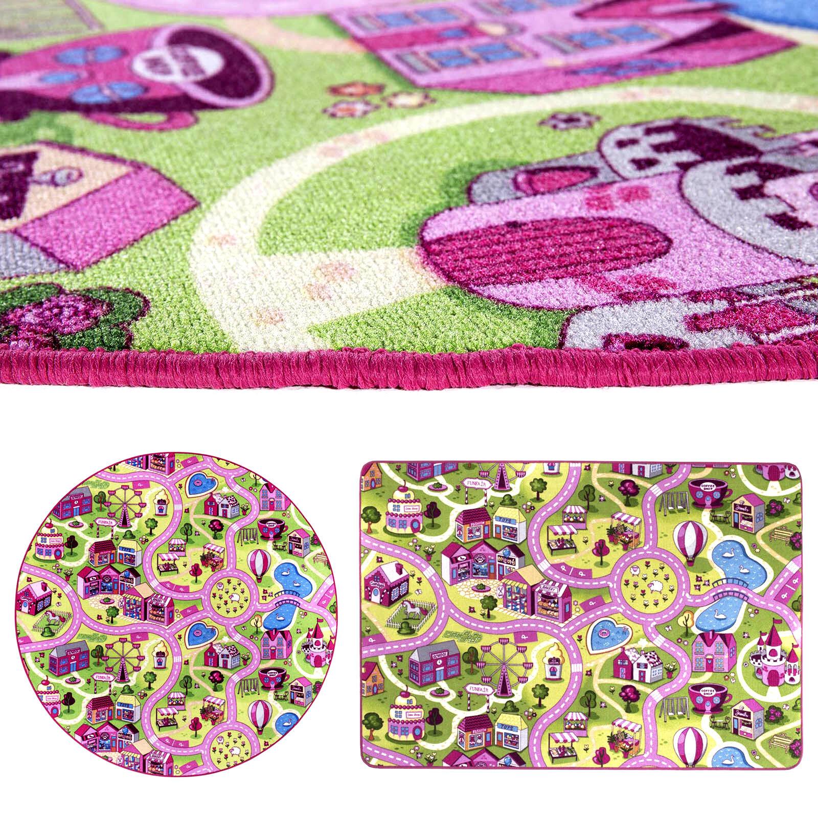 Spielteppich Straße Kinderteppich Mädchen Rosa Straßenteppich Teppich Pink Kind