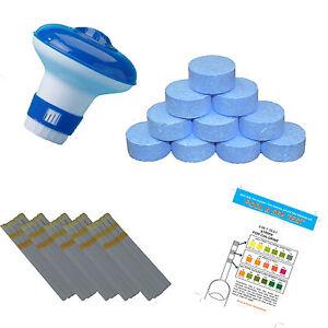 40 x 20g Chlorine Tablets Pool Hot Tub + Dispenser and Testing strips Full Kit