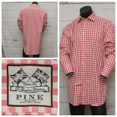 Thomas Pink London Button Up Shirt Gingham Plaid Red White Mens 16.5 Classic -