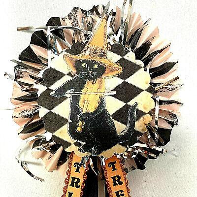 Halloween Rosette Bethany Lowe Trick Or Treat Cat Fiddle Glitter Ribbons