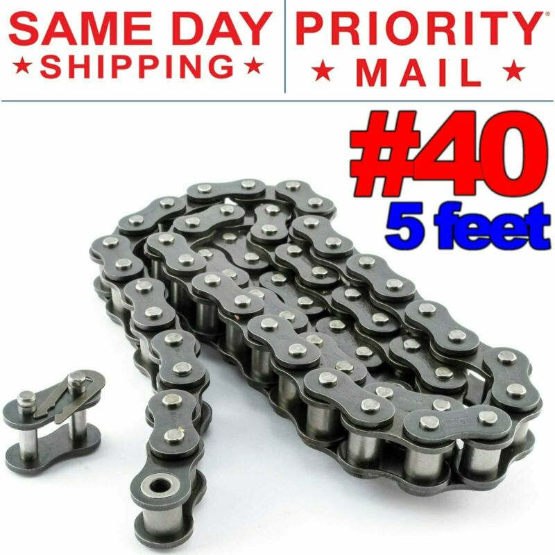 #40 Roller Chain x 5 feet + Free Connecting Links + Same Day Expedited Shipping