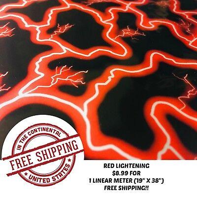 Hydrographic Water Transfer Hydro Dipping Dip Film Red Lightening 1m 19 X38