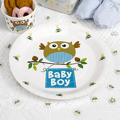 8 x Baby Shower Plates Little Owls Blue Boys Christening paper plates FREE P&P - Owl Baby Shower Plates
