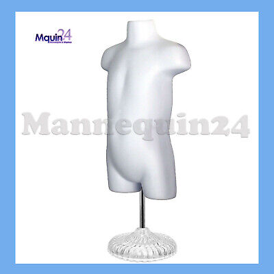 Toddler Mannequin Torso W Stand Hanger - White Hollow Back Kids Dress Form