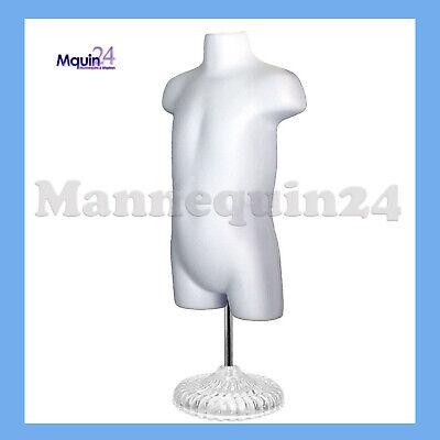 Toddler Mannequin Torso W Stand Hanger - White Hollow Back Kids Dress Form