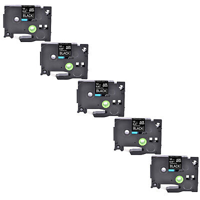 5pk Tz 335 Tze 335 White On Black Label Tape 12 For Brother P-touch Printer