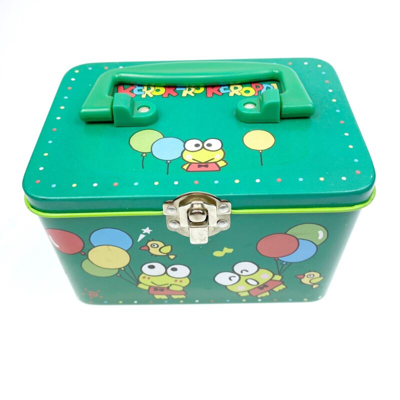 1995 Vintage Keroppi Sanrio Metal Tin Lunchbox Trinket Storage Collectible