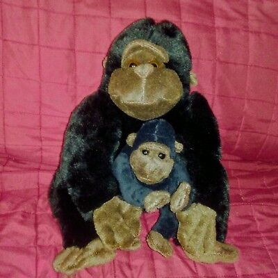 Kohls Cares for Kids GORILLA Mama & Baby Black Brown Soft 11in Plush Monkey