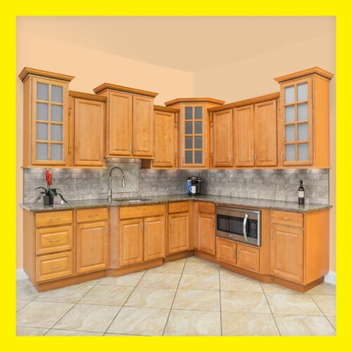 """90"""" Kitchen Cabinets Richmond All Wood Honey Stained Maple Group Sale AAA KCRC17"""