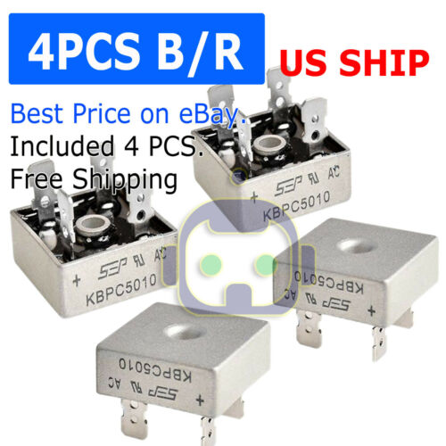 4Pcs 1000V 50A Metal Case Single Phase Diode Bridge Rectifier KBPC5010 USA