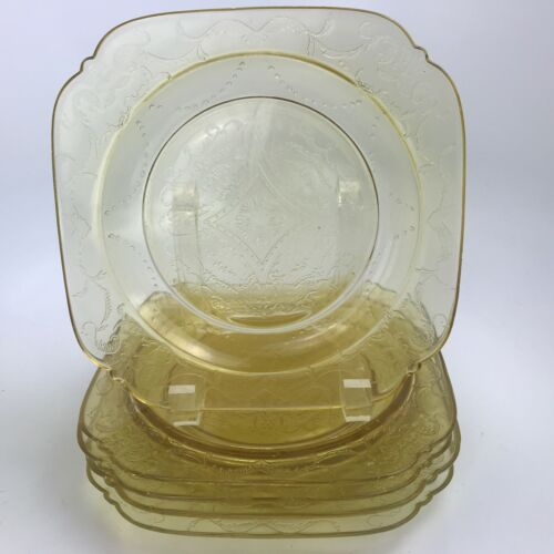 5 Vintage Federal Depression Glass Amber Yellow Plates