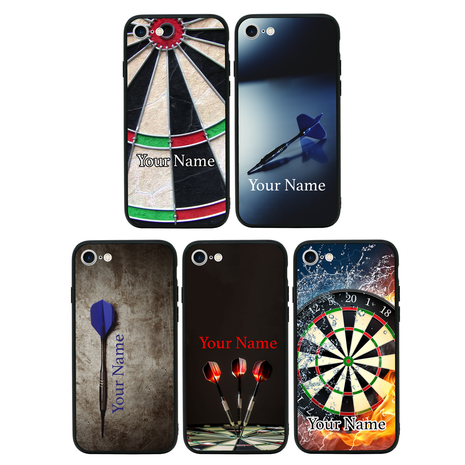 Personalised Darts Name Glass Case Back Cover for iPhone 7 8 PLUS X XS MAX XR