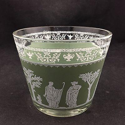 VINTAGE CLEAR & GREEN FROSTED GLASS GRECIAN ARTWORK BOWL, VASE-GREEK DESIGN-LOOK