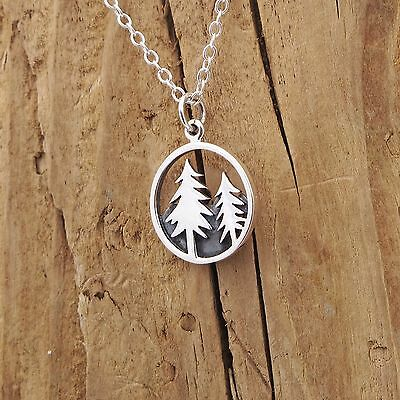 Sterling Silver Mountain Pine Tree Charm Forest Necklace Camping Halloween Boxed](Halloween Forest Sterling)