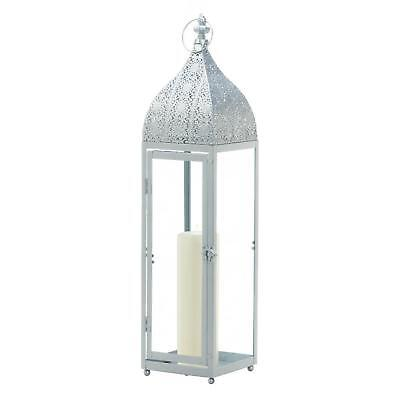 BULK LOT DISCOUNTS Large Shiny Silver Moroccan Style Pillar Candle Lantern
