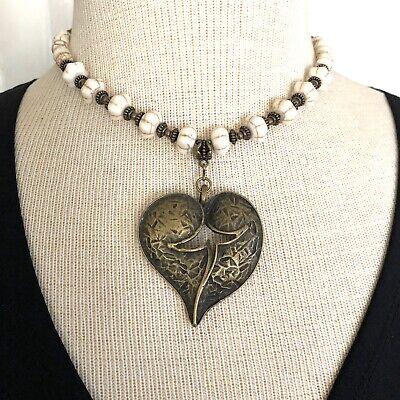 Split Heart & White Turquoise Beaded Necklace Artisan handmade USA 1708