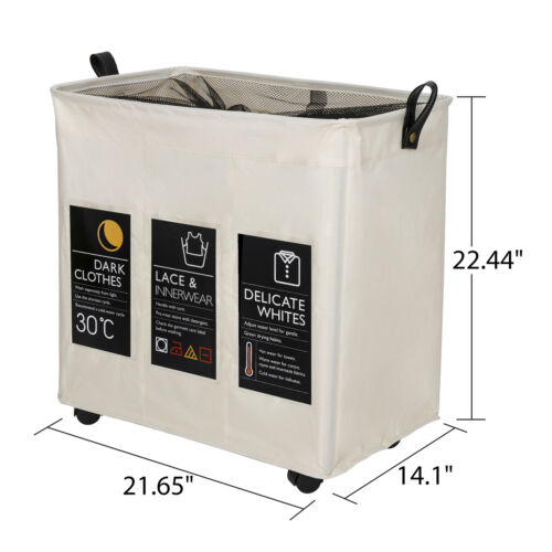 Foldable Clothes Laundry Basket 3 Section Hamper Bag Large Cart with Wheels Home & Garden