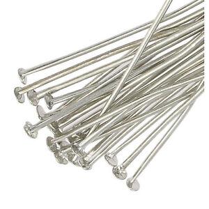 250 Silver Plated Flat Headpins 40mm Metal Head Pins Jewellery Making Findings