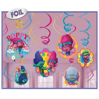 Trolls Poppy Hanging Swirl Decoration Birthday Party Supplies Ceiling Dangler 12
