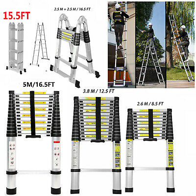 8.5-16.5ft Aluminum Telescopic Extension Ladder Folding Step Multi-use Non-slip