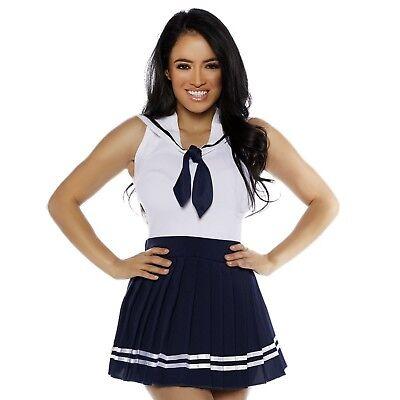 Women's Navy Blue Sailor Skirt & Collar School Girl Moon Halloween Costume S-XL - Navy Blue Costume