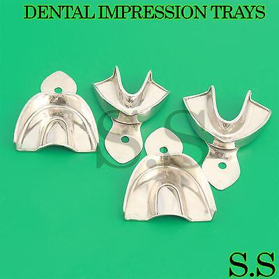4 Dental Impression Trays Set Solid Denture Instruments