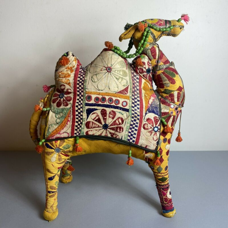 """Large Vintage 1950s India Folk Art Camel 25"""" Embroidered Rajasthan Indian AS IS"""