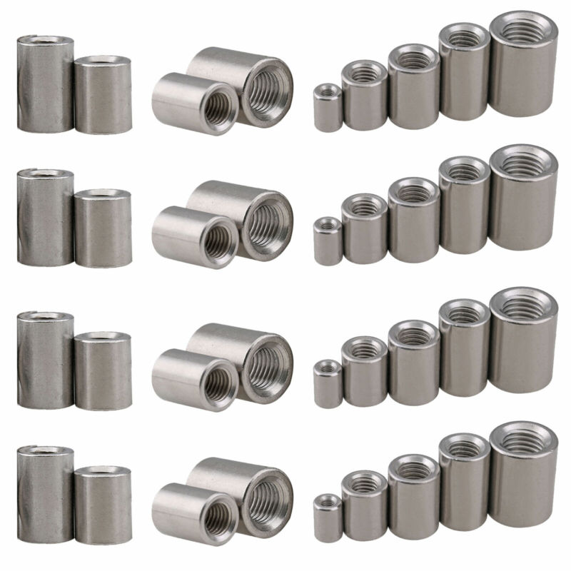 304 Stainless Round Coupling Nuts Female Thread Adapters M5 M6 M8 M10 M12 M14