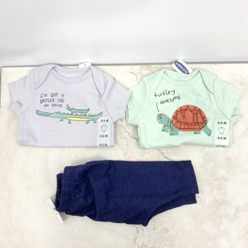 Old Navy Baby Boy 0-3 Month Clothing Lot One Piece Pants Blue Green Graphic