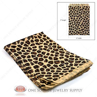 100 Leopard Print Gift Bags Leopard Pattern Merchandise Bags Paper Bags 5x 7