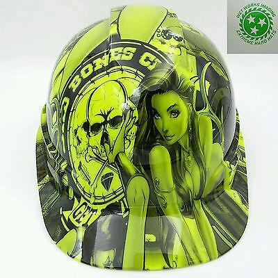 Hard Hat Custom Hydro Dipped Osha Approved Bad Bones Club Hi Vis Green