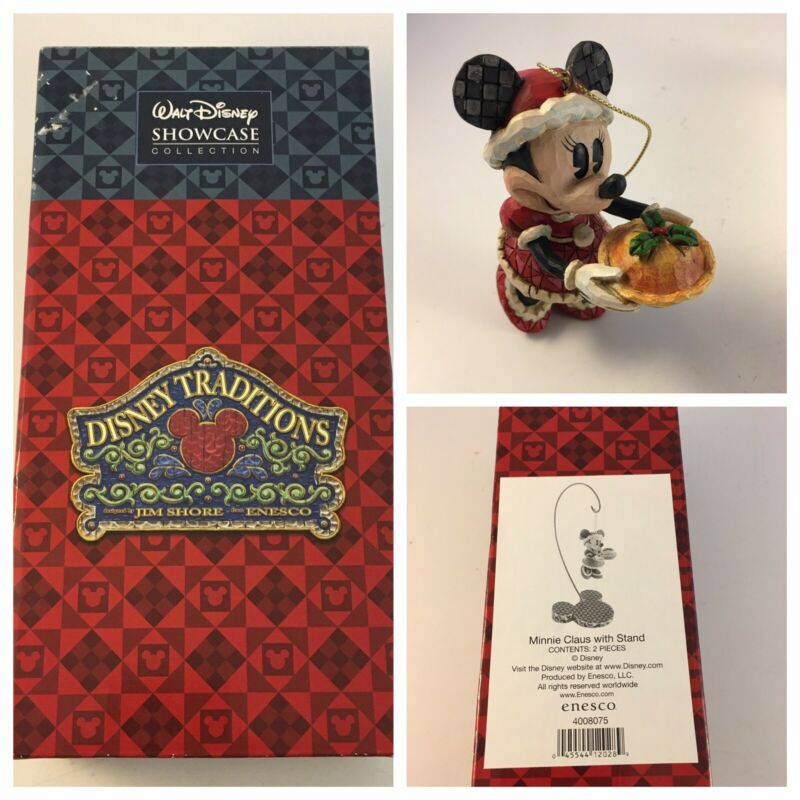 Jim Shore Disney Traditions Showcase Collection Minnie Claus w/ Stand Ornament