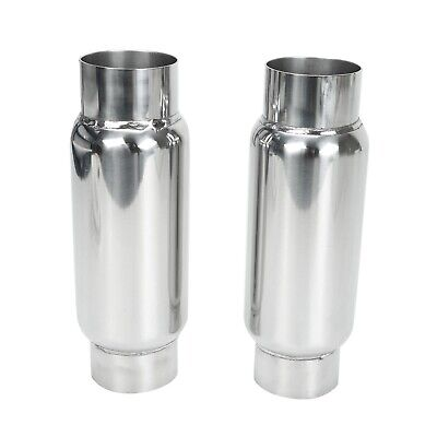 """Resonator S//S Pair 3/"""" Inlet 3in Outlet Universal Performance Exhaust Mufflers"""