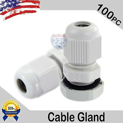 100 Pcs PG7 White Nylon Waterproof Cable Gland 3-6.5mm Dia. w/ Lock-Nut & Gasket