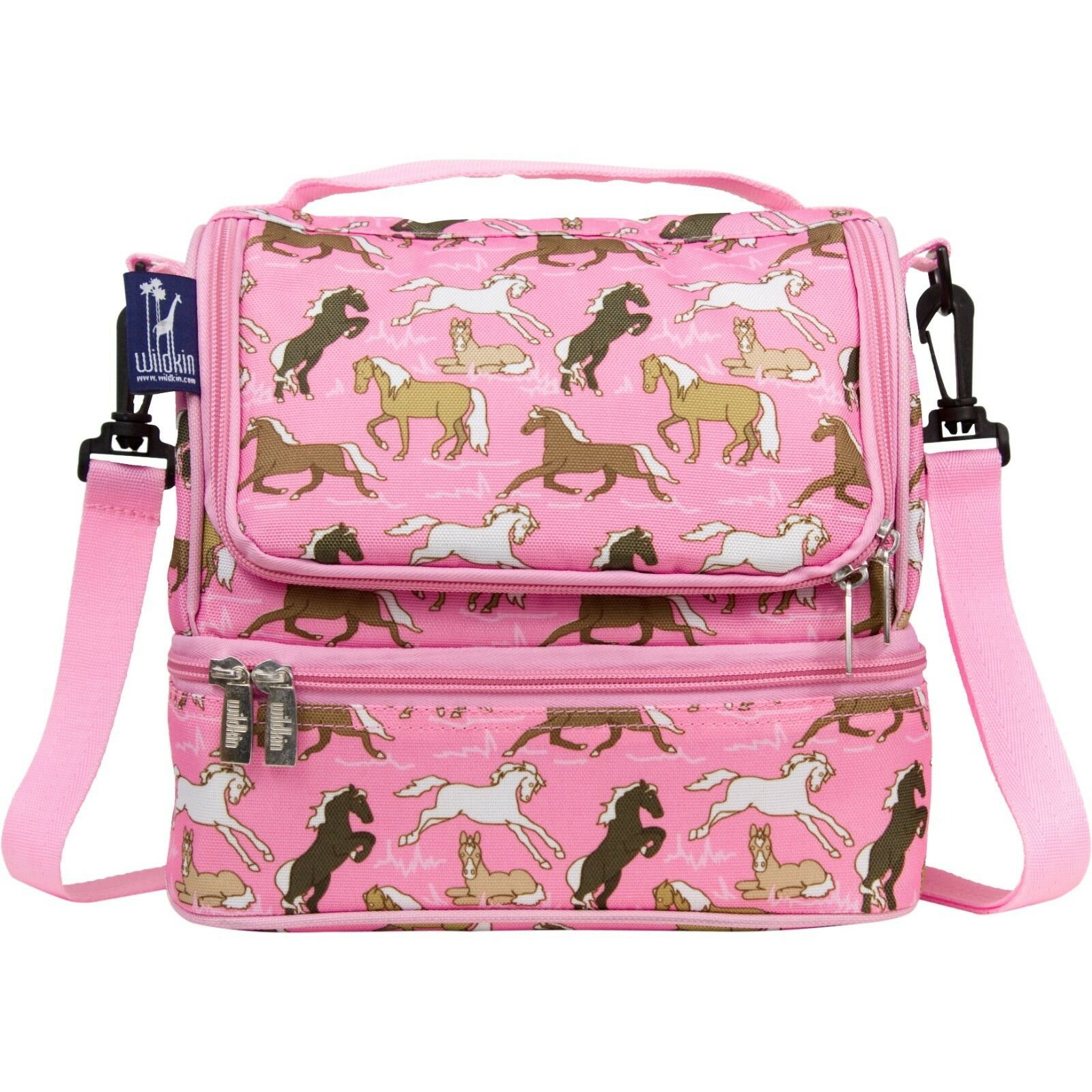 Horses Dual Compartment Lunch Bag, Double Decker Lunchbox wi