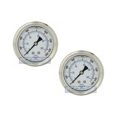 2 Pack Liquid Filled Pressure Gauge 0-1500 Psi 2.5 Face 14 Back Mount Wog